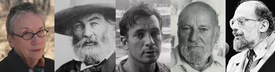 E. Annie Proulx, Walt Whitman, Jack Kerouac, Lawrence Ferlinghetti, and Allen Ginsberg.