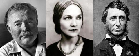 Ernest Hemingway, Katherine Anne Porter, and Henry David Thoreau.