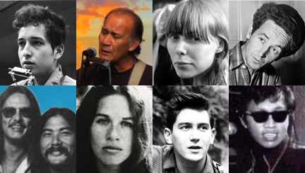Top, L-R: Bob Dylan, Liko Martin, Joni Mitchell, Woody Guthrie; bottom, L-R: Olomana, Carole King, Phil Ochs, Sixto Rodriguez.